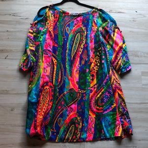70s psychedelic shift dress L